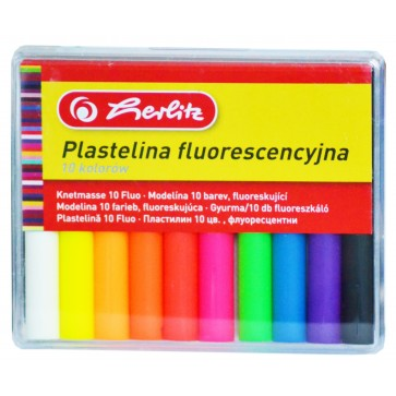 Plastilina, 10 culori/set, fluorescente, HERLITZ