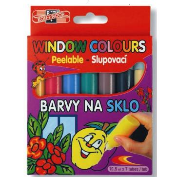 Culori pentru pictat pe sticla, 7 culori/set, KOH-I-NOOR