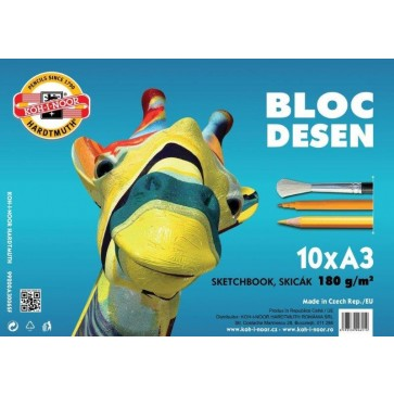 Bloc pentru pictat, A3, 180g, 10 file, hartie alba, KOH-I-NOOR Girafa