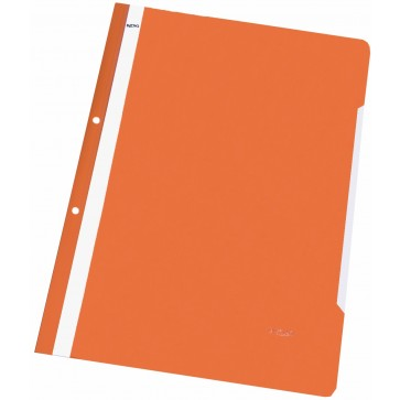 Dosar din plastic, cu sina si perforatii, portocaliu, NOKI