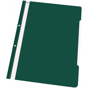 Dosar din plastic, cu sina si perforatii, verde, NOKI