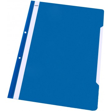 Dosar din plastic, cu sina si perforatii, albastru, NOKI