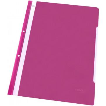 Dosar din plastic, cu sina si perforatii, roz, NOKI