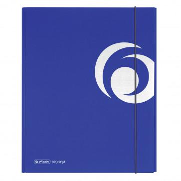 Dosar mapa, carton lucios, A4, XL, inchidere cu elastic, albastru intens, HERLITZ