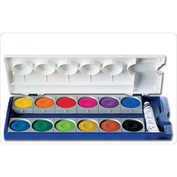 Acuarele 12 culori/set (pensula inclusa si alb de zinc), PELIKAN