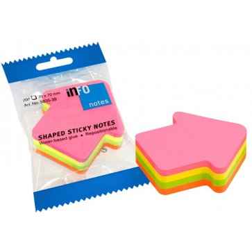 Notes autoadeziv cub in forma de sageata, 70 x 70mm, 200 file/set, diferite culori intense, INFO NOTES Arrow