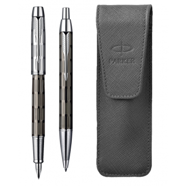Set stilou + pix + etui, brown, Twin Chiselled, PARKER I.M. Premium