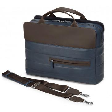 Geanta pentru laptop, albastru/maro, din piele de bovina, FEDON Award File-2