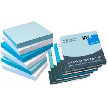Notesuri autoadezive (6 seturi), 75 x 75mm, 100 file/set, alb/albastru pastel, INFO NOTES Iceland