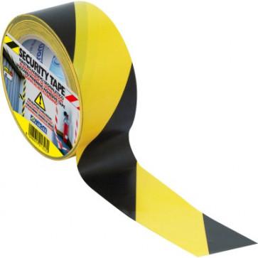 Banda adeziva, 50mm x 33m, galben/negru, SYROM Security Tape