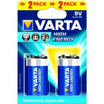Baterii 9V, alcaline, 2 bucati, VARTA High Energy