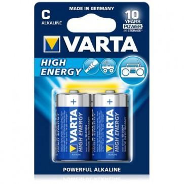Baterii alcaline C/R14, 2 buc/blister, VARTA High Energy
