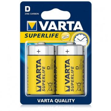 Baterii D, zinc-carbon, 2 bucati, VARTA Super Life