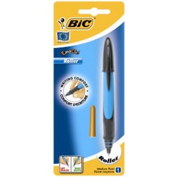 Roller cu cartus cu cerneala, albastru, BIC Easy Clic Flashy