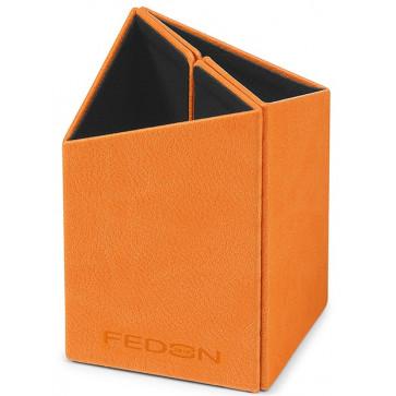 Suport pentru instrumente de scris, din imitatie de piele, portocaliu, FEDON 1919 Bicchieri
