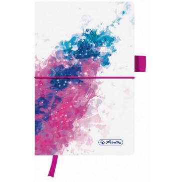 Bloc notes A5, 96 file, dictando, coperta din panza cu elastic, HERLITZ My Book Splash roz