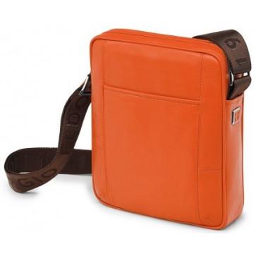 Geanta, portocaliu, din piele de bovina, FEDON British Micro-M