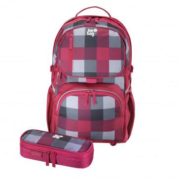 Rucsac ergonomic + penar tip etui, HERLITZ Be.Bag Cube Bundle Burgund