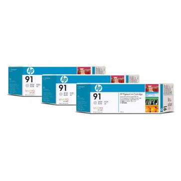 Cartus, light grey, nr. 91, 3 cartuse/set, HP C9482A