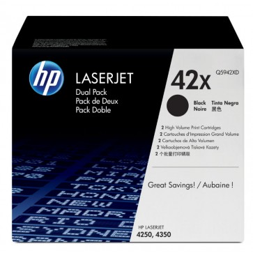 Toner, black, Nr. 42X, 2 buc./set, HP Q5942XD