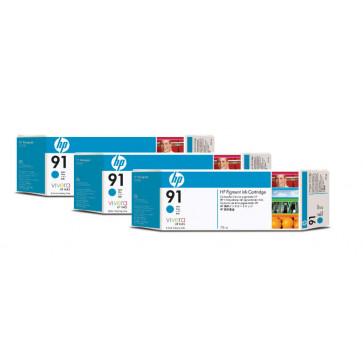 Cartus, cyan, nr. 91, 3 cartuse/set, HP C9483A