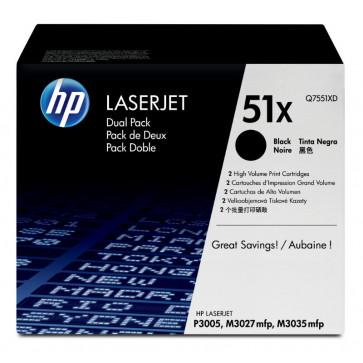 Toner, black, Nr. 51X, 2 buc./set, HP Q7551XD