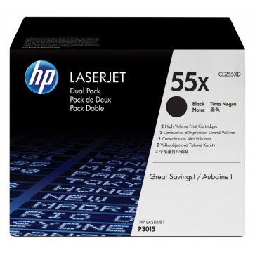 Toner, black, Nr. 55X, 2 buc./set, HP CE255XD