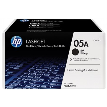 Toner, black, Nr. 05A, 2 buc./set, HP CE505D