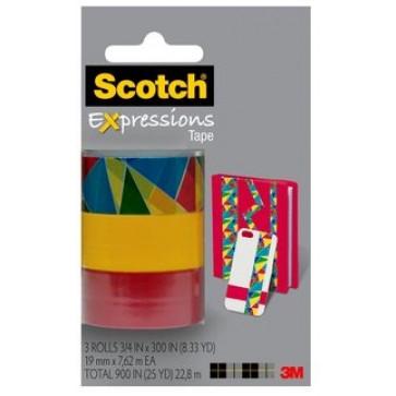 Banda adeziva decorativa, forme geometrice - galben - rosu, blister, SCOTCH