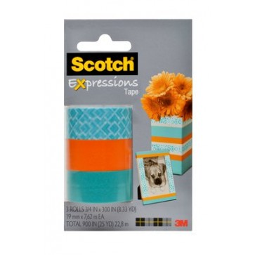 Banda adeziva decorativa, triunghiuri - portocaliu - albastru, blister, SCOTCH