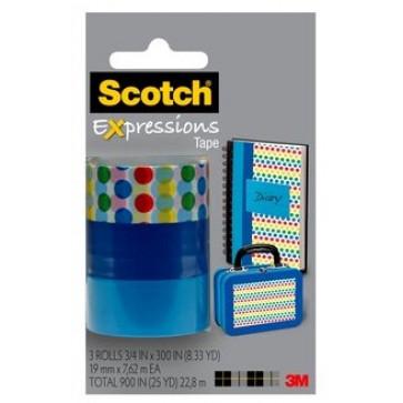 Banda adeziva decorativa, buline - albastru2 - albastru3, blister, SCOTCH