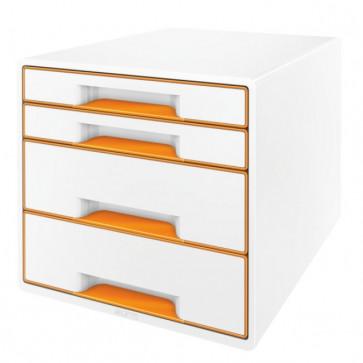 Cabinet cu sertare, 4 sertare, portocaliu, LEITZ WOW