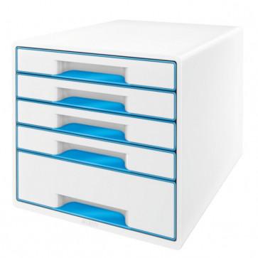 Cabinet cu sertare, 5 sertare, albastru, LEITZ WOW
