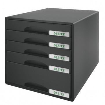 Cabinet cu sertare, 5 sertare, negru, LEITZ Plus