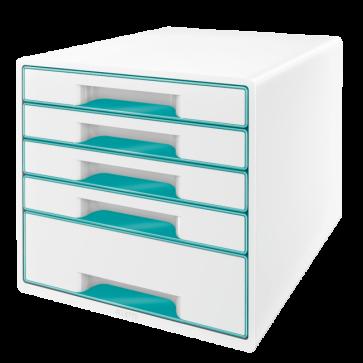 Cabinet cu sertare, 5 sertare, turcoaz, LEITZ WOW