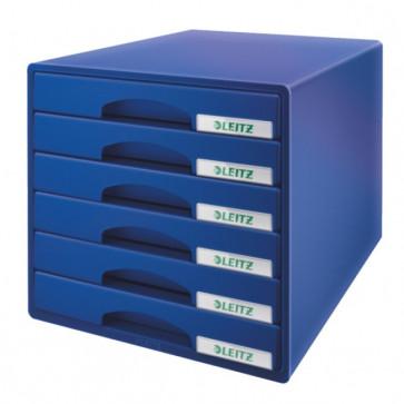 Cabinet cu sertare, 6 sertare, albastru, LEITZ Plus
