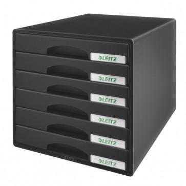 Cabinet cu sertare, 6 sertare, negru, LEITZ Plus