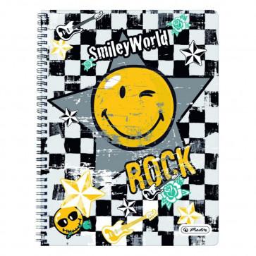 Caiet A4 matematica, cu spira, perforat, 70 file, HERLITZ Smiley World Rock