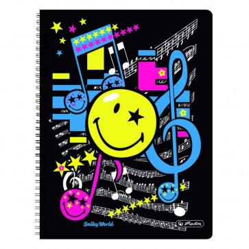 Caiet A4 matematica, cu spira, perforat, 70 file, HERLITZ Smiley World Pop