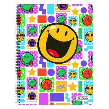 Caiet A4 matematica, cu spira, perforat, 70 file, HERLITZ Smiley World Happy