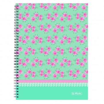 Caiet A4 matematica, cu spira, perforat, 70 file, HERLITZ Ladylike Roses