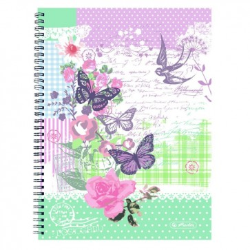 Caiet A4 matematica, cu spira, perforat, 70 file, HERLITZ Ladylike Butterfly
