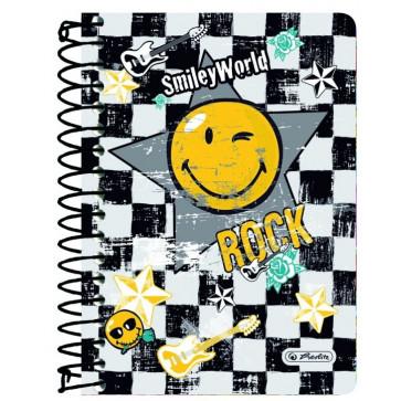 Caiet A6 matematica, cu spira, 200 file, HERLITZ Smiley World Rock