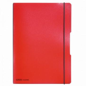 Caiet A4, 2 x 40 file, dictando si matematica, coperta rosu transparent, elastic negru, HERLITZ My.Book Flex