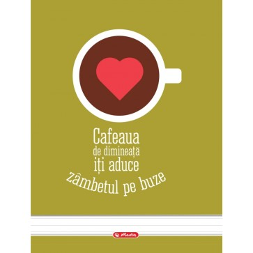 Caiet A4 dictando, cu spira, 100 file, HERLITZ Coffee