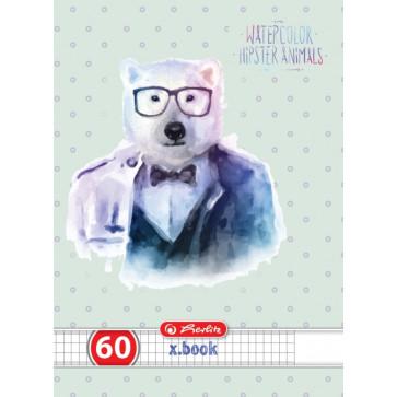 Caiet A4 matematica, 60 file, HERLITZ Hipster Animals