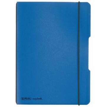 Caiet A5, 40 file, matematica, coperta albastru deschis transparent, elastic negru, HERLITZ My.Book Flex