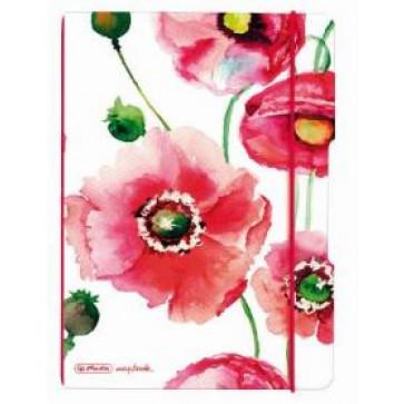 Caiet A5, 40 file, matematica, coperta maci, elastic rosu, HERLITZ My.Book Flex