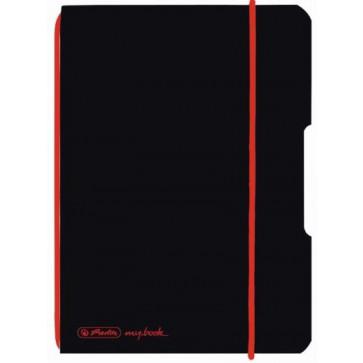 Caiet A6, 40 file, dictando, coperta neagra, elastic rosu, HERLITZ My.Book Flex