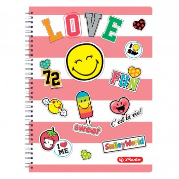Caiet cu spira, A4, 70 file, matematica, HERLITZ Smiley World Girly